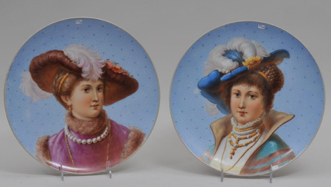 Pair of 19th century Berlin porcelain hand painted