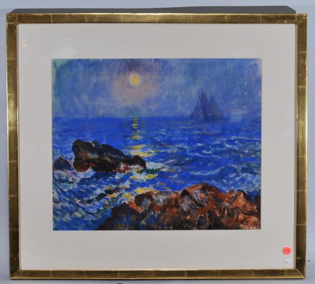 Hayley Lever. Watercolor. Moonlight seascape with a