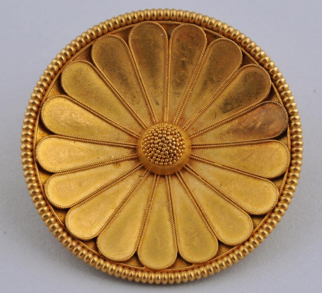 Italian Castellani Gold Sunflower Brooch Pin,