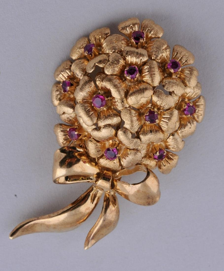 Tiffany & Co. Italy. 18 karat gold Ruby mounted floral
