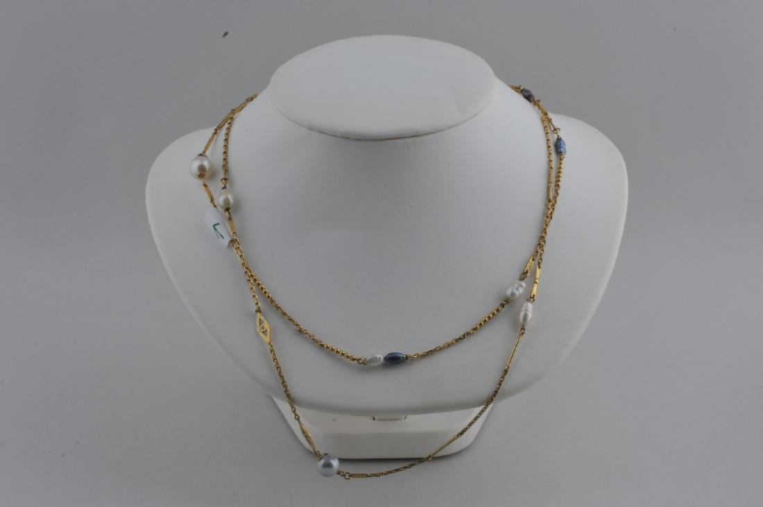 Chinese gold pearl mounted long necklace with various