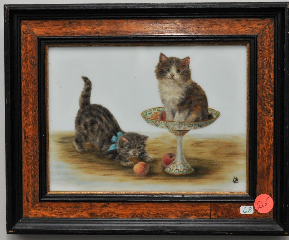 Late 19th century oil painting on milk glass panel.