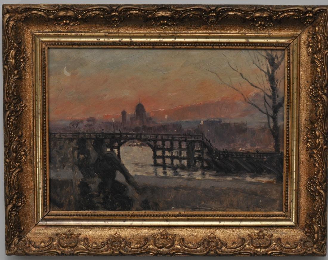 Giuseppe de Nittis. Sunset river landscape with a