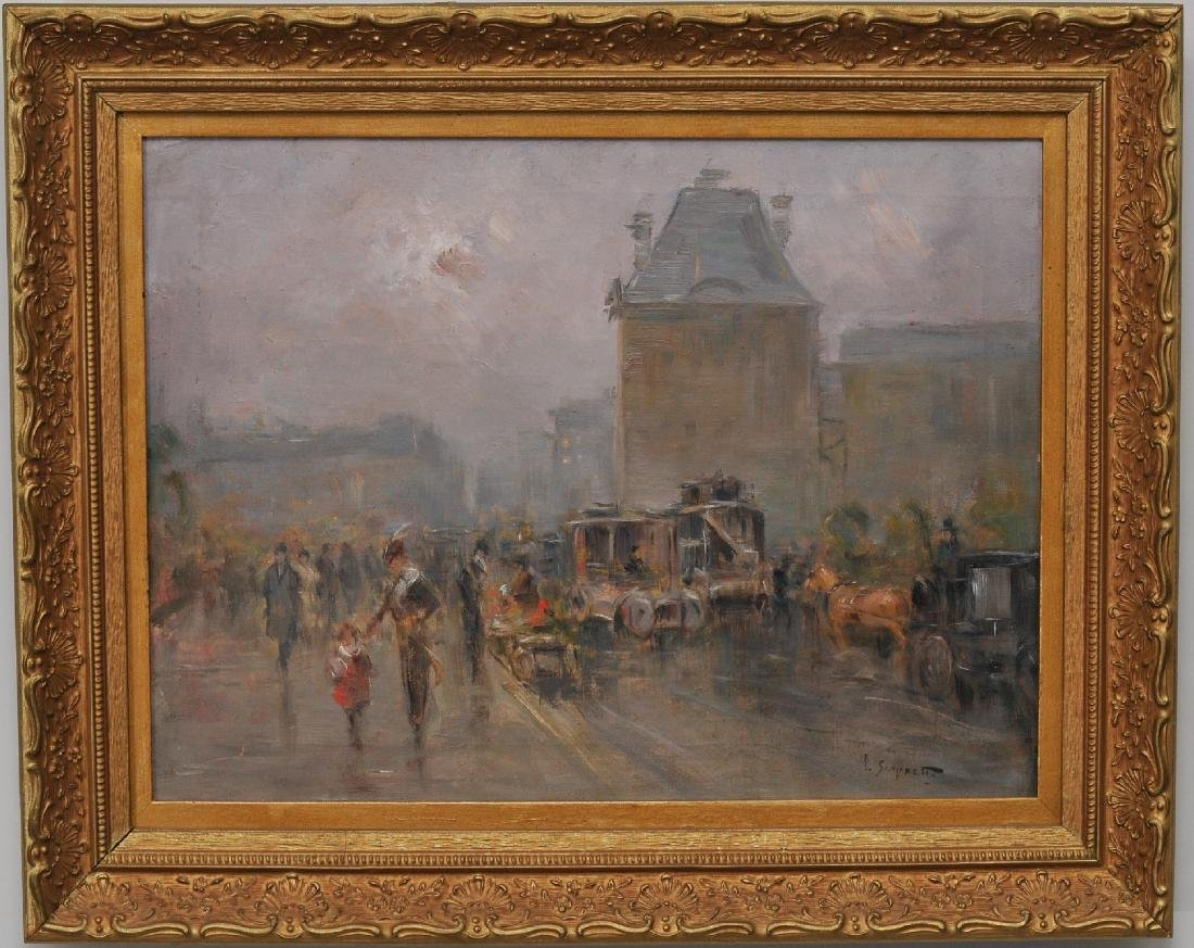 Pietro Scoppetta.  City scene with carriages and