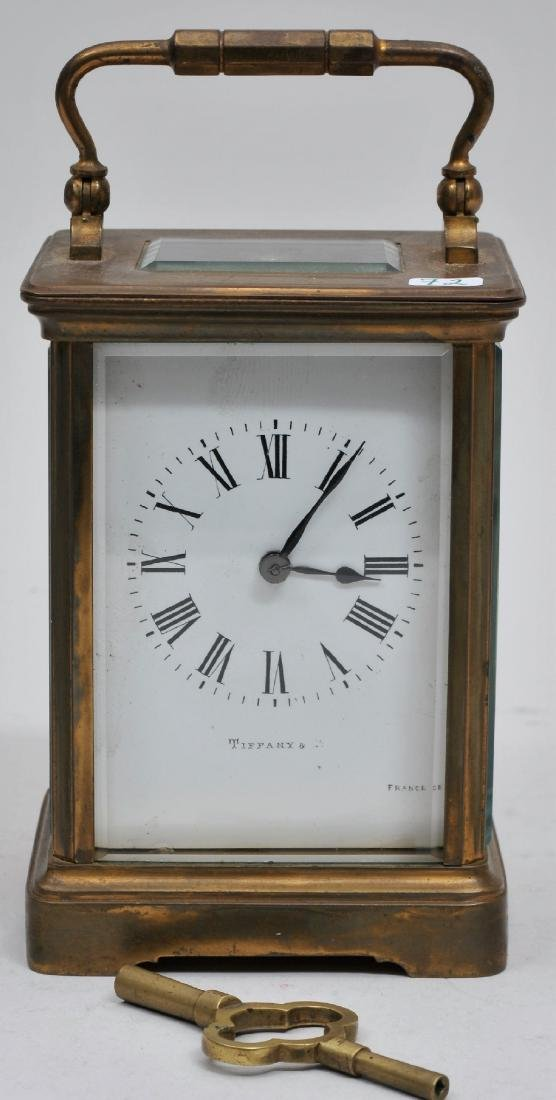 Tiffany and Co. French brass and glass carriage clock