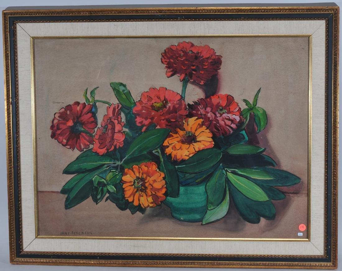 Jane Peterson. Gouache. Table top floral still-life