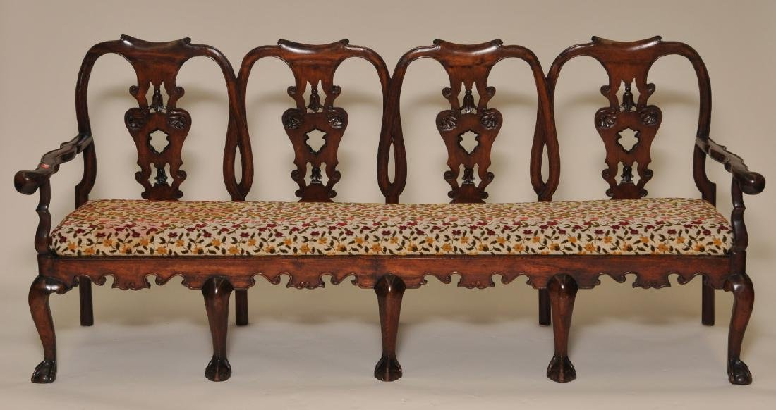 18th century Chippendale four chair back carved settee