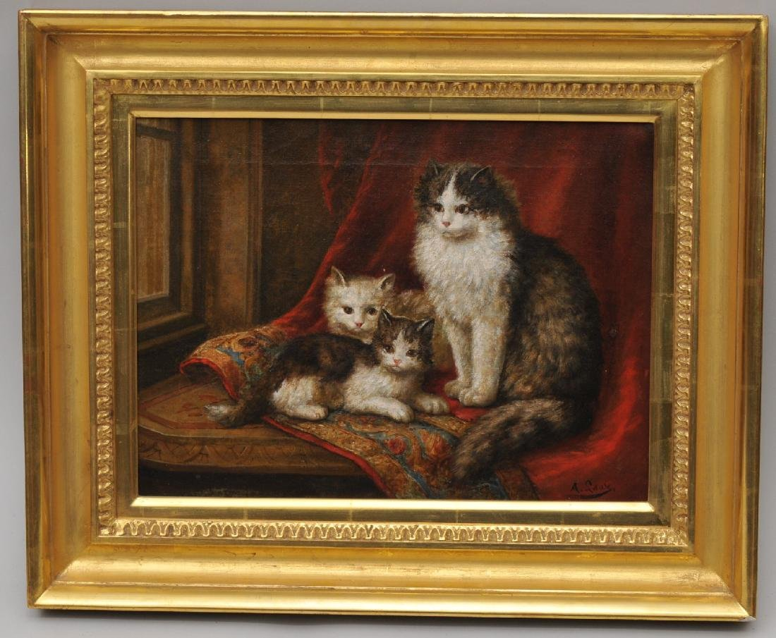 """August Laux. """"Cats on a Shawl"""". O/C. Framed. Sight"""