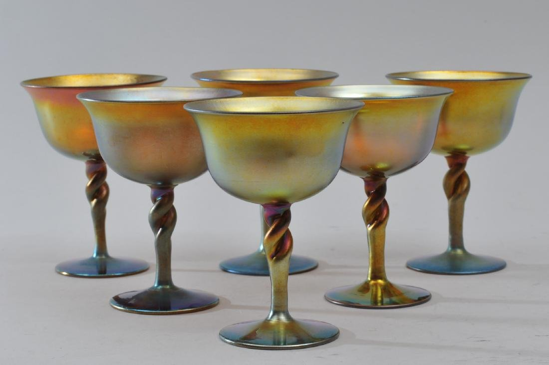 Set of six Steuben Gold Aureen wine glasses with