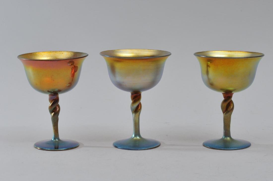 Set of six Steuben Gold Aureen wine glasses with - 2