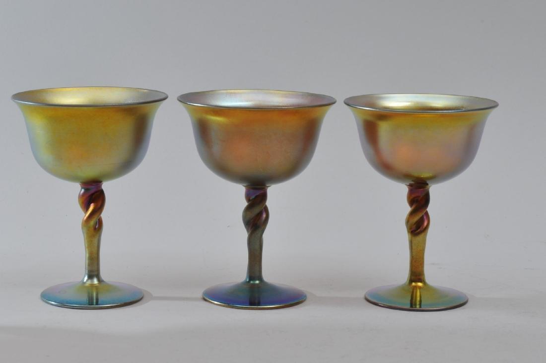 Set of six Steuben Gold Aureen wine glasses with - 3