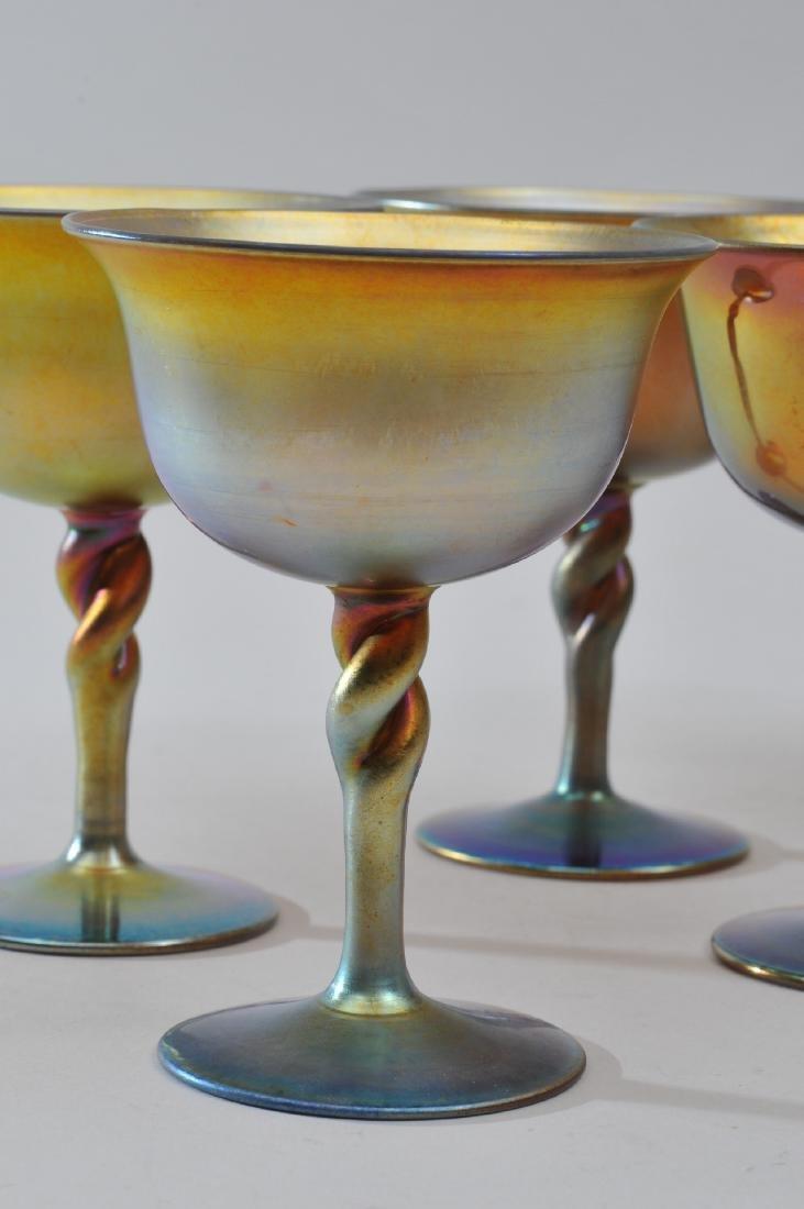 Set of six Steuben Gold Aureen wine glasses with - 6