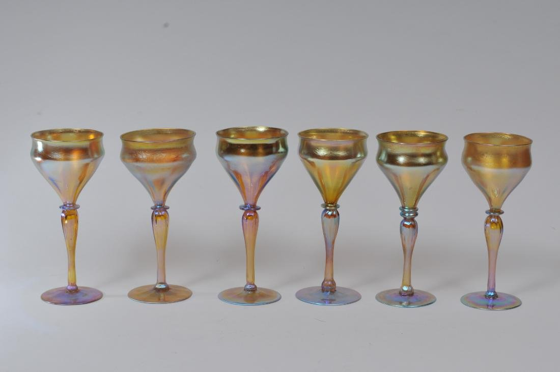 Set of six Gold Favrille tall wine glasses with slight