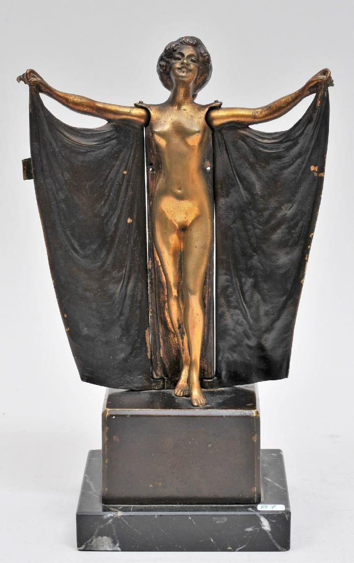 Early 20th century Erotic bronze figure of a draped