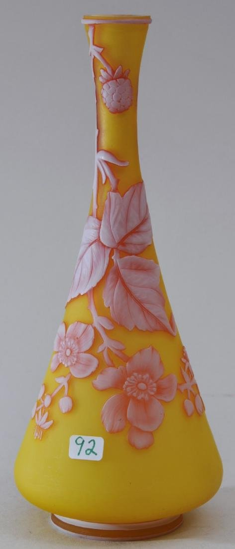 Webb Cameo glass vase. White on red on yellow ground