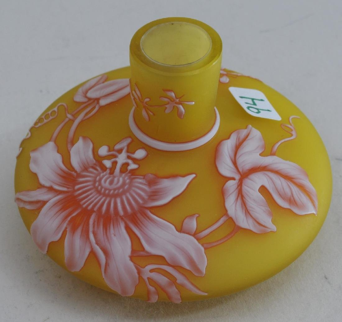 Small English Cameo glass vase. White to red on yellow