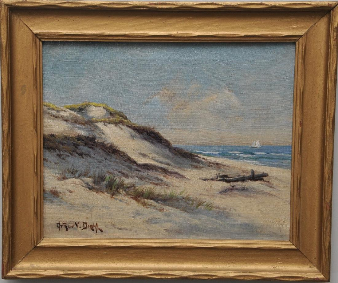 Arthur V. Diehl. Cape Cod. Sand dunes with sail boat.