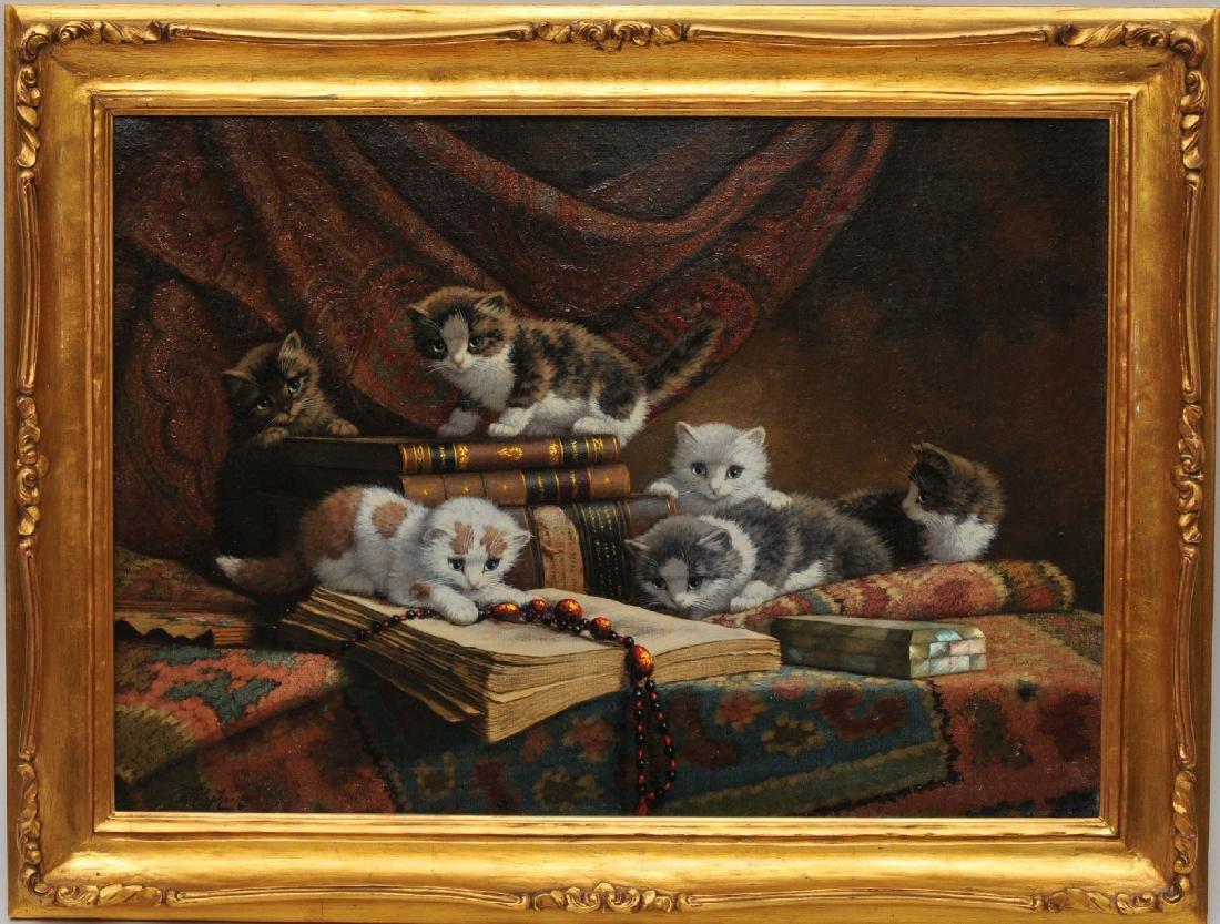 "Cornelius Raaphorst. Large painting. ""Kittens at Play"