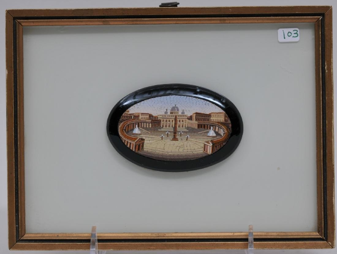 19th century Italian Micro Mosaic small oval plaque.