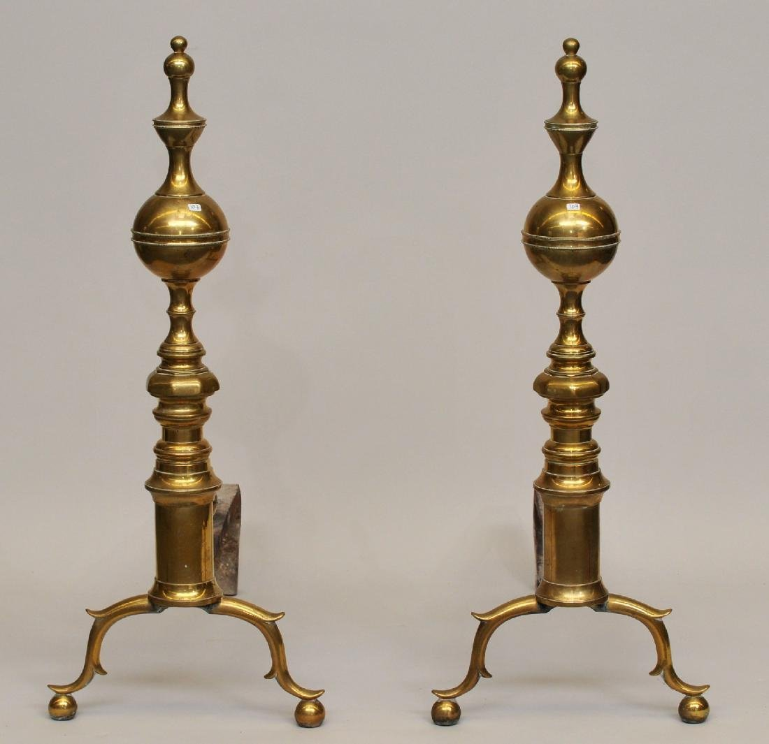 Pair of early 19th century American oversize brass