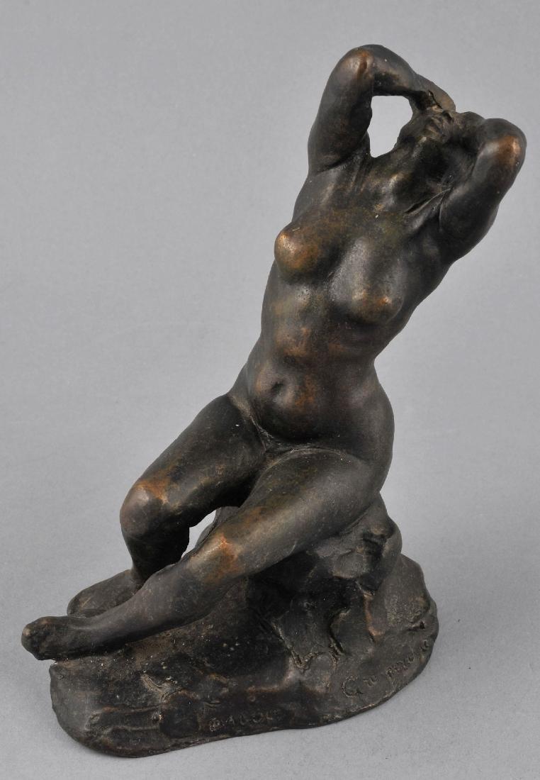 """Aime-Jules Dalou """"Le Desespoir"""" Bronze sculpture of a"""