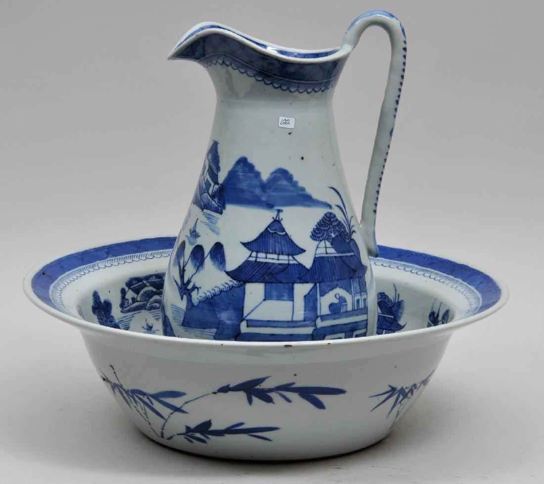 19th century Chinese Export Canton pattern blue and