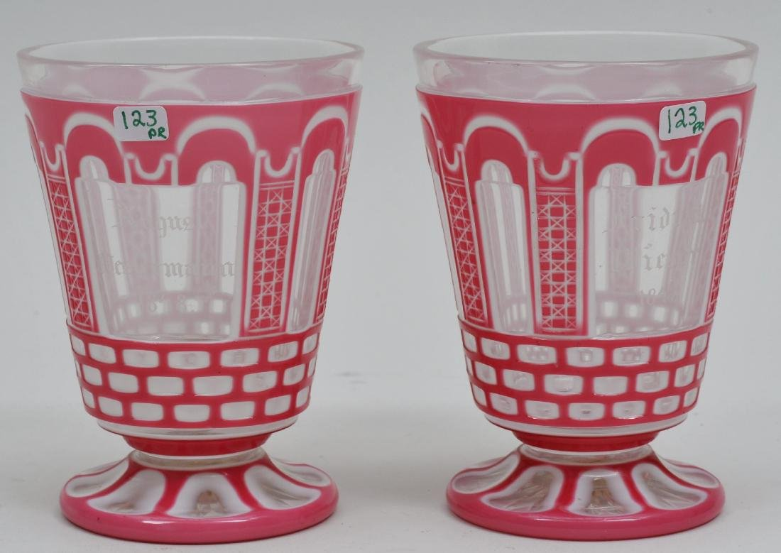 Pair of Mid 19th century Bohemian cut glass pink to