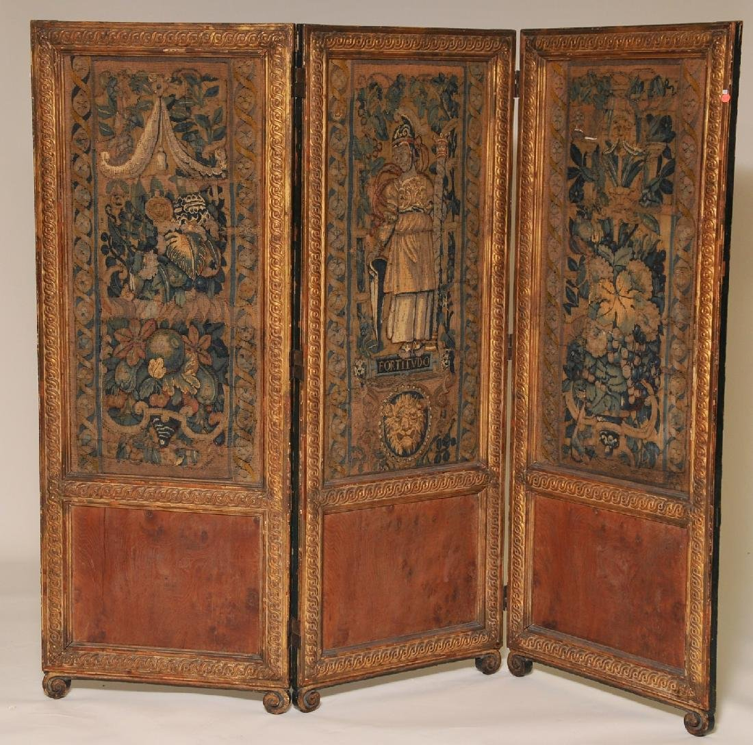 19th century carved and gilt wood three panel floor