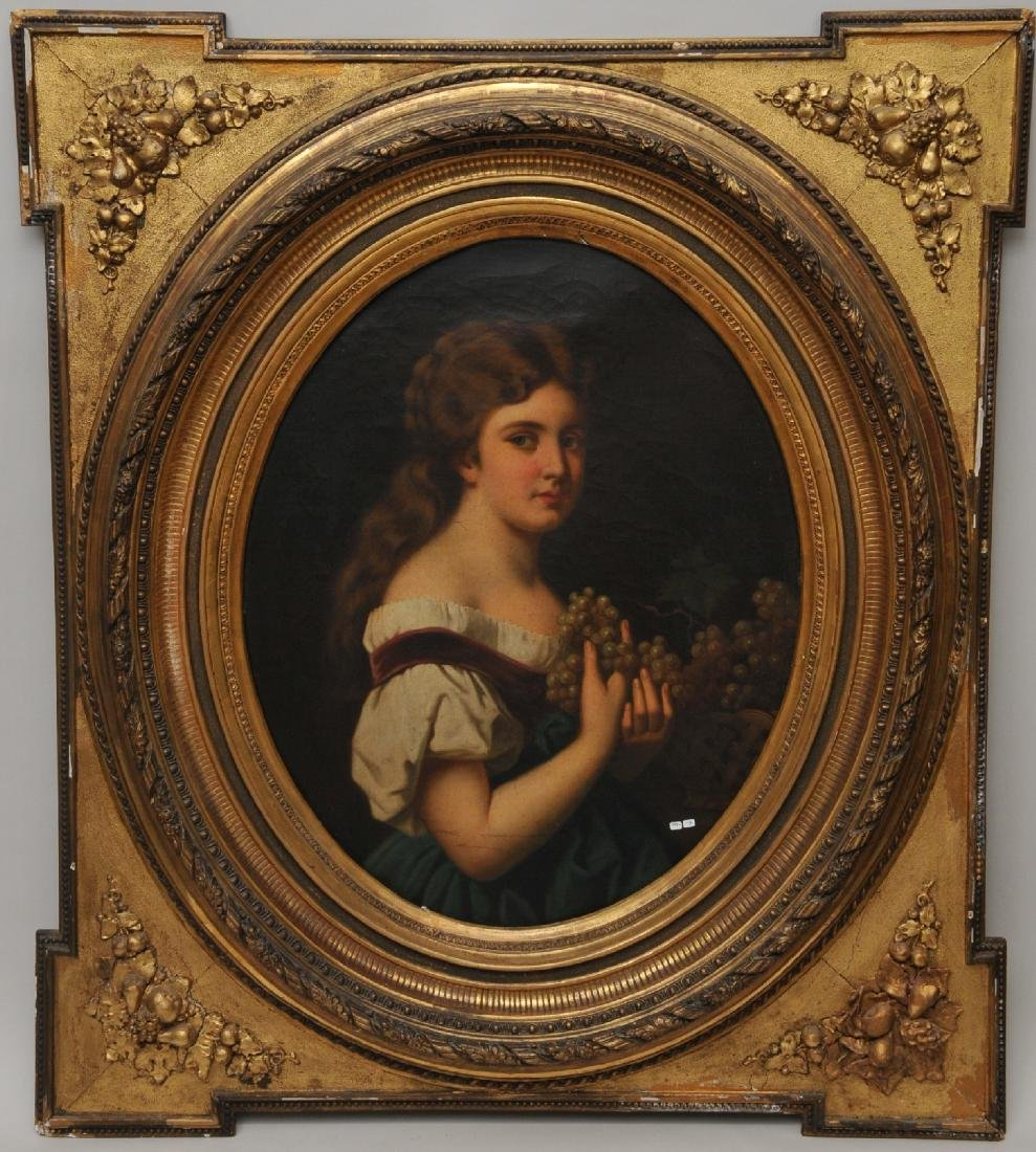 Large 19th century oval painting of a girl holding