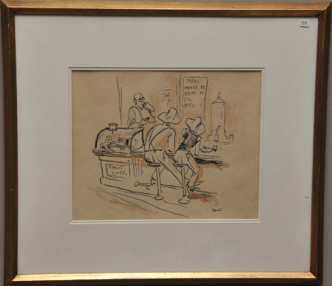 Thomas Hart Benton. Original pen and ink with sepia