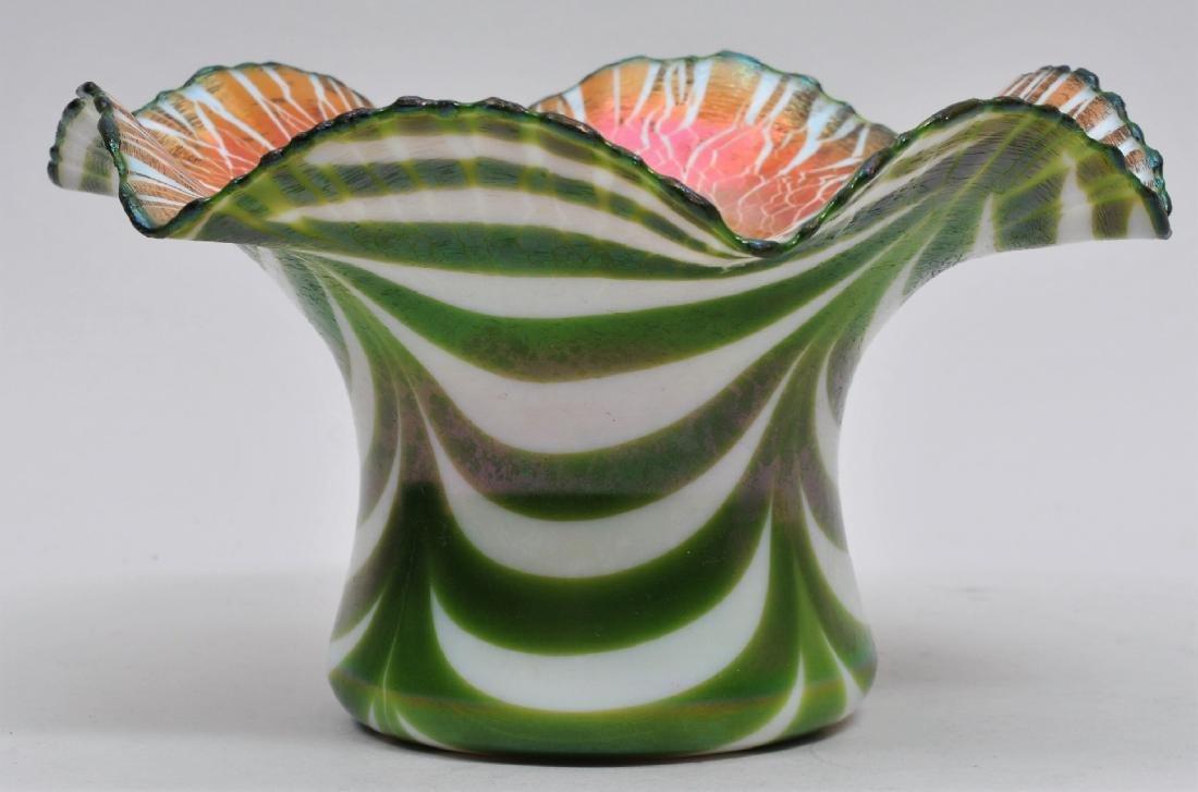Vintage Quezal style Art Glass hat form iridescent
