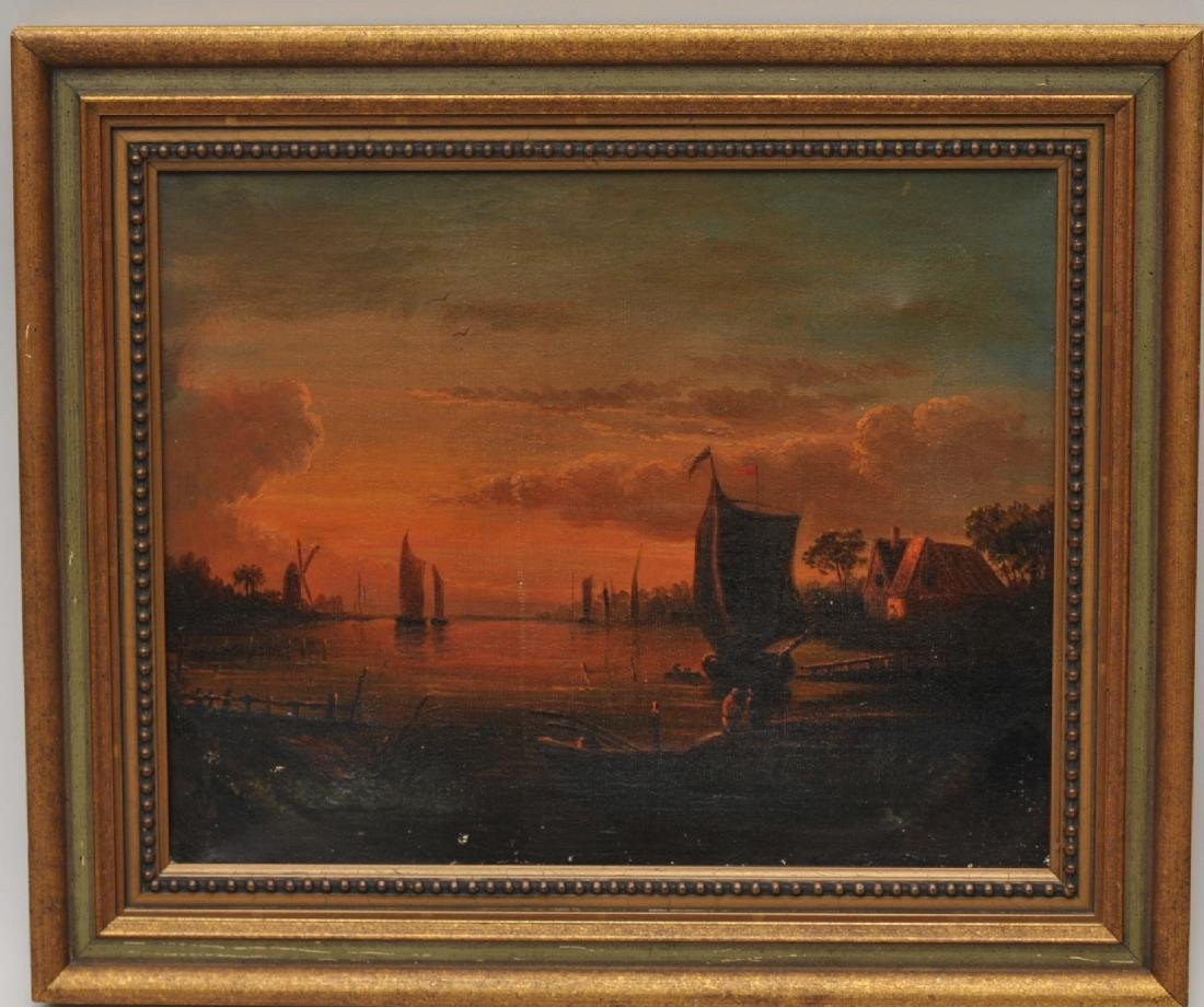 Early 19th century French School. Luminous sunset river