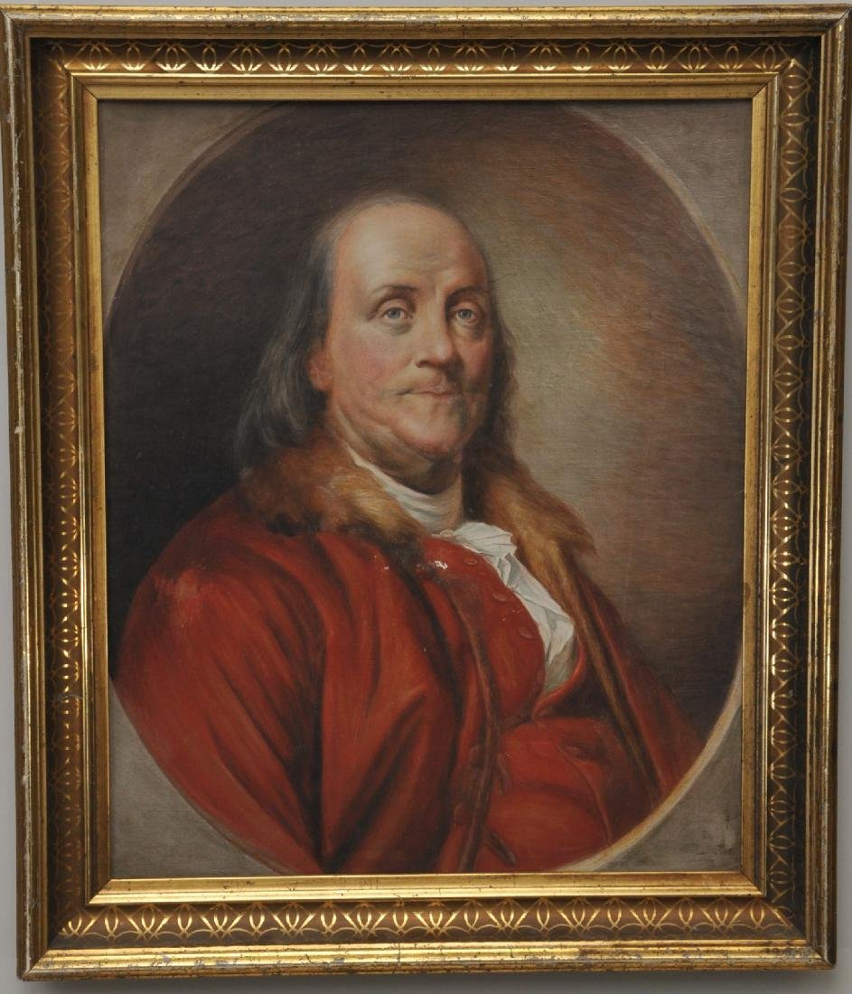 19th century watercolor painting of Benjamin Franklin.