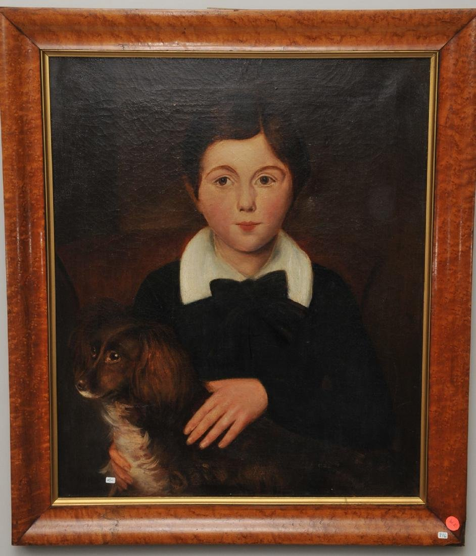 19th century American School Folk Art Portrait of a boy