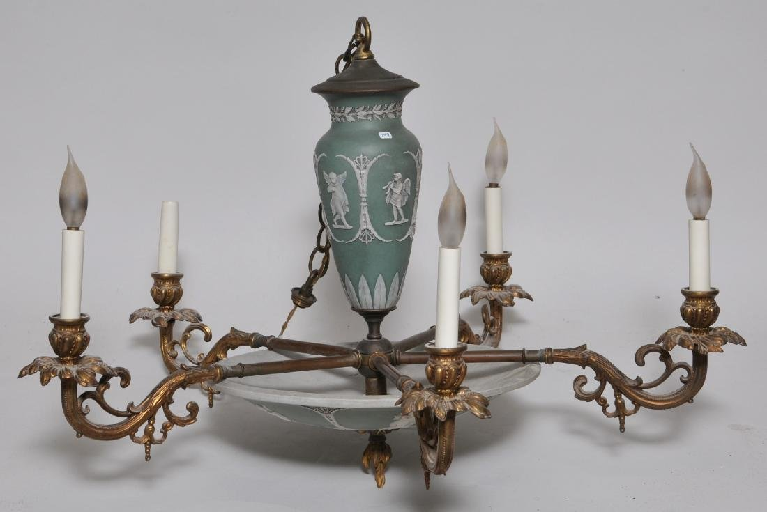 Early 20th century Wedgwood green Jasperware five light