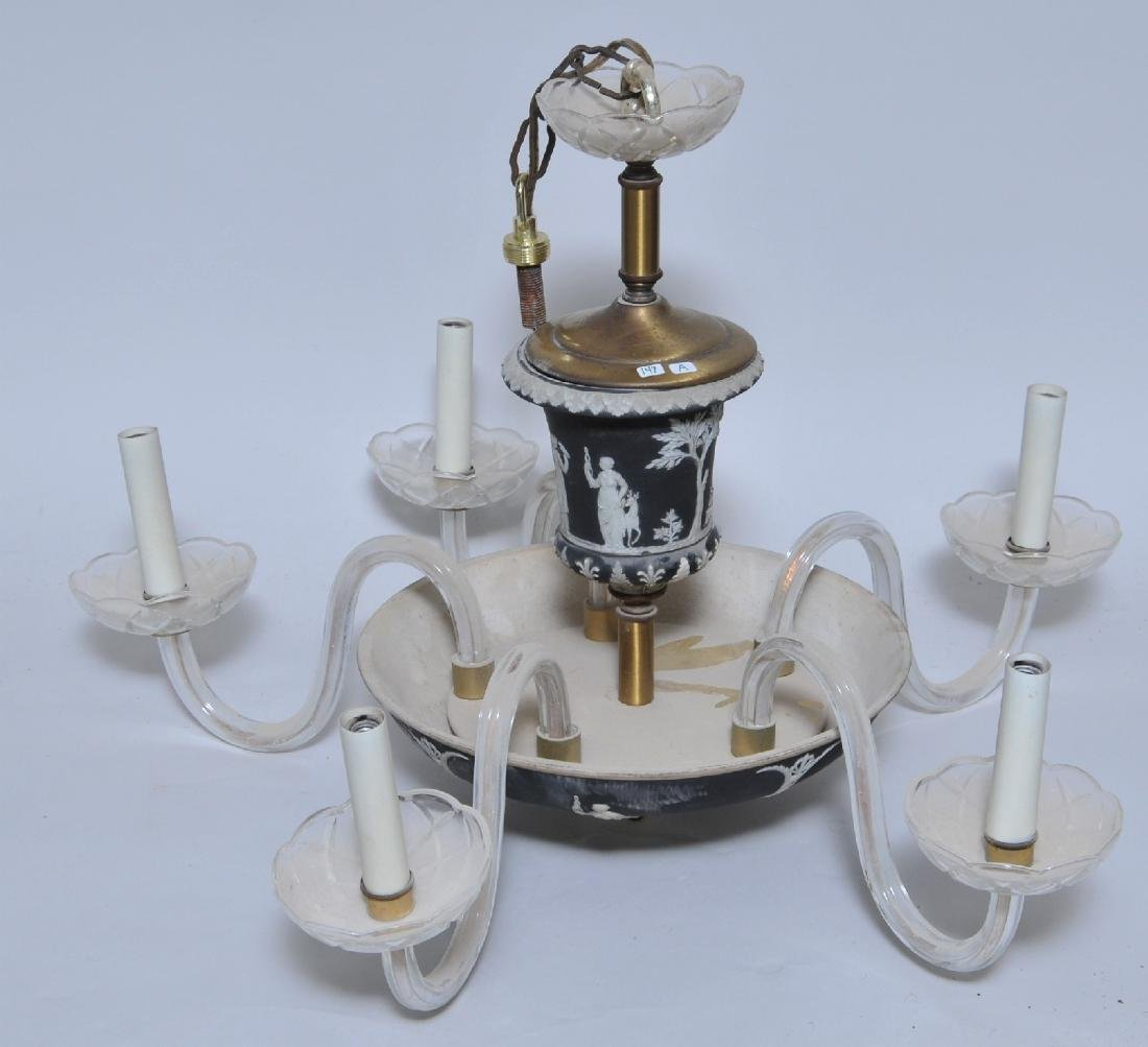 Early 20th century Wedgwood black Jasperware five light