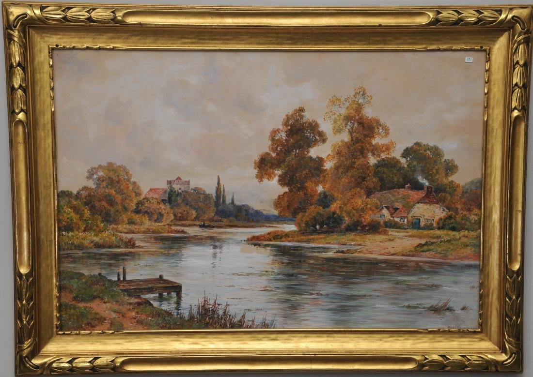 "Early 20th century English watercolor painting. ""River"