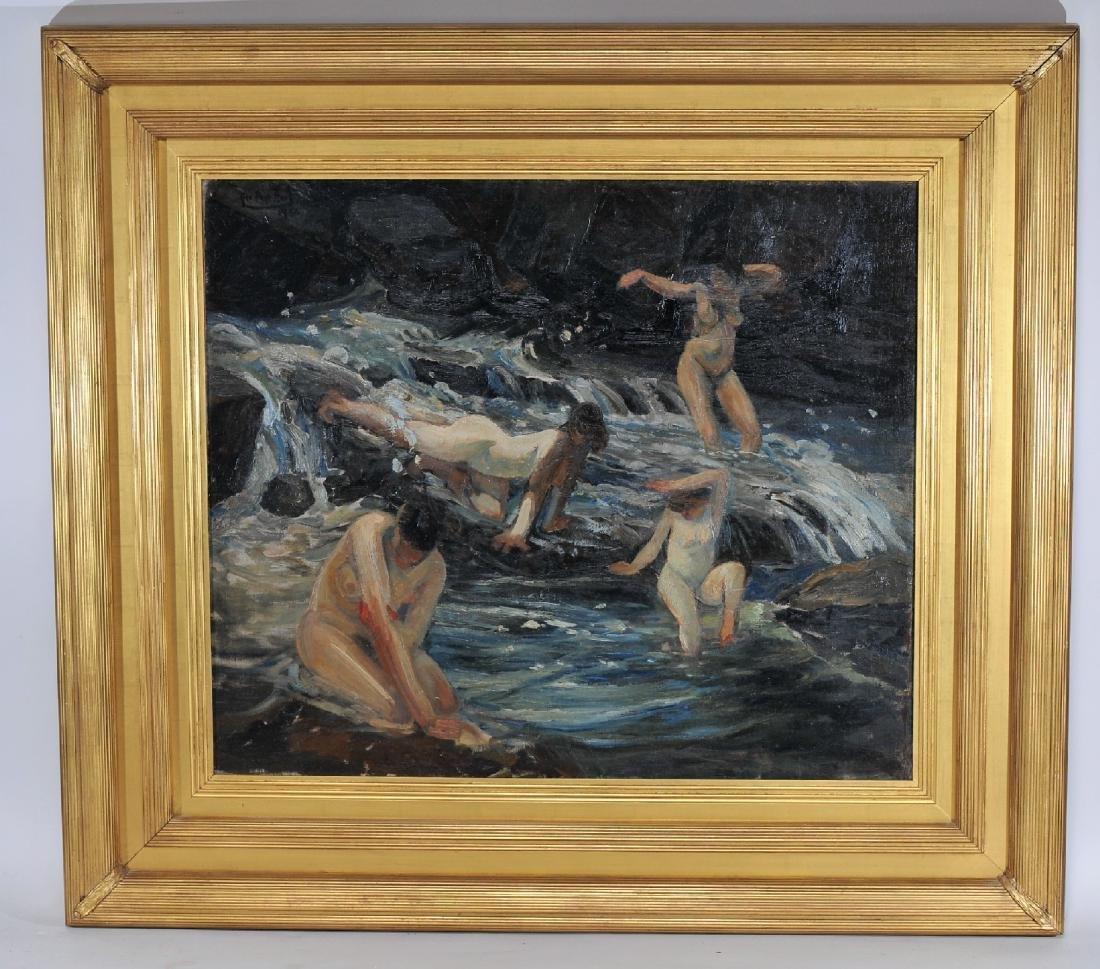 """Pop"" George O. Hart. 1922. Large landscape with nudes"
