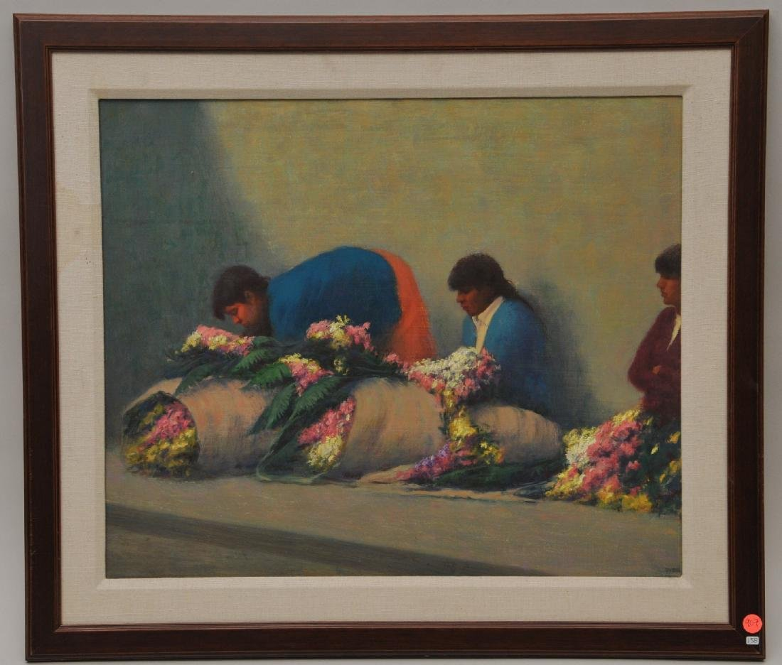 "Elias Rivera. Guatemala. ""Flower Market"". O/C.   S.L.R."