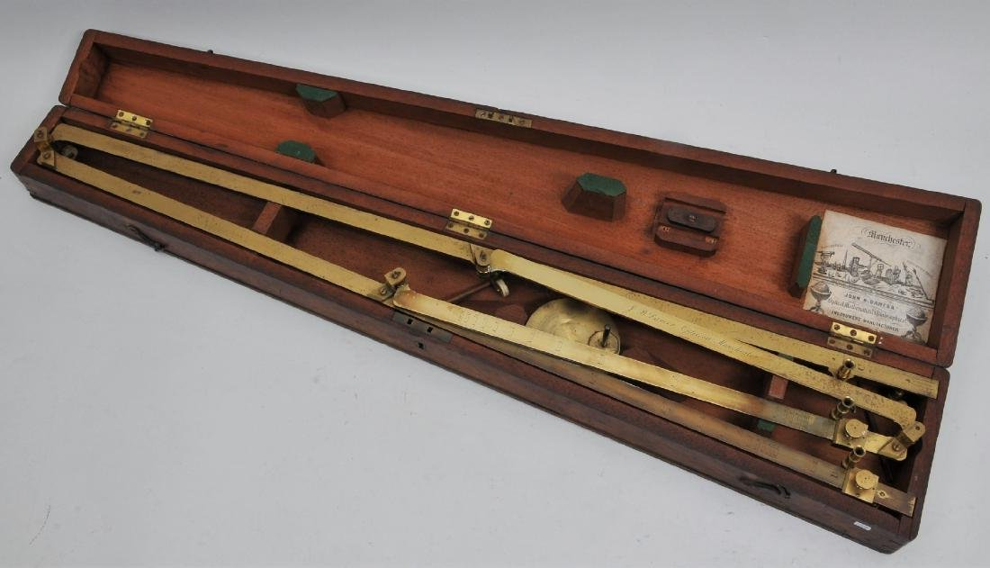 Mid 19th century brass cased Pentagraph Instrument.