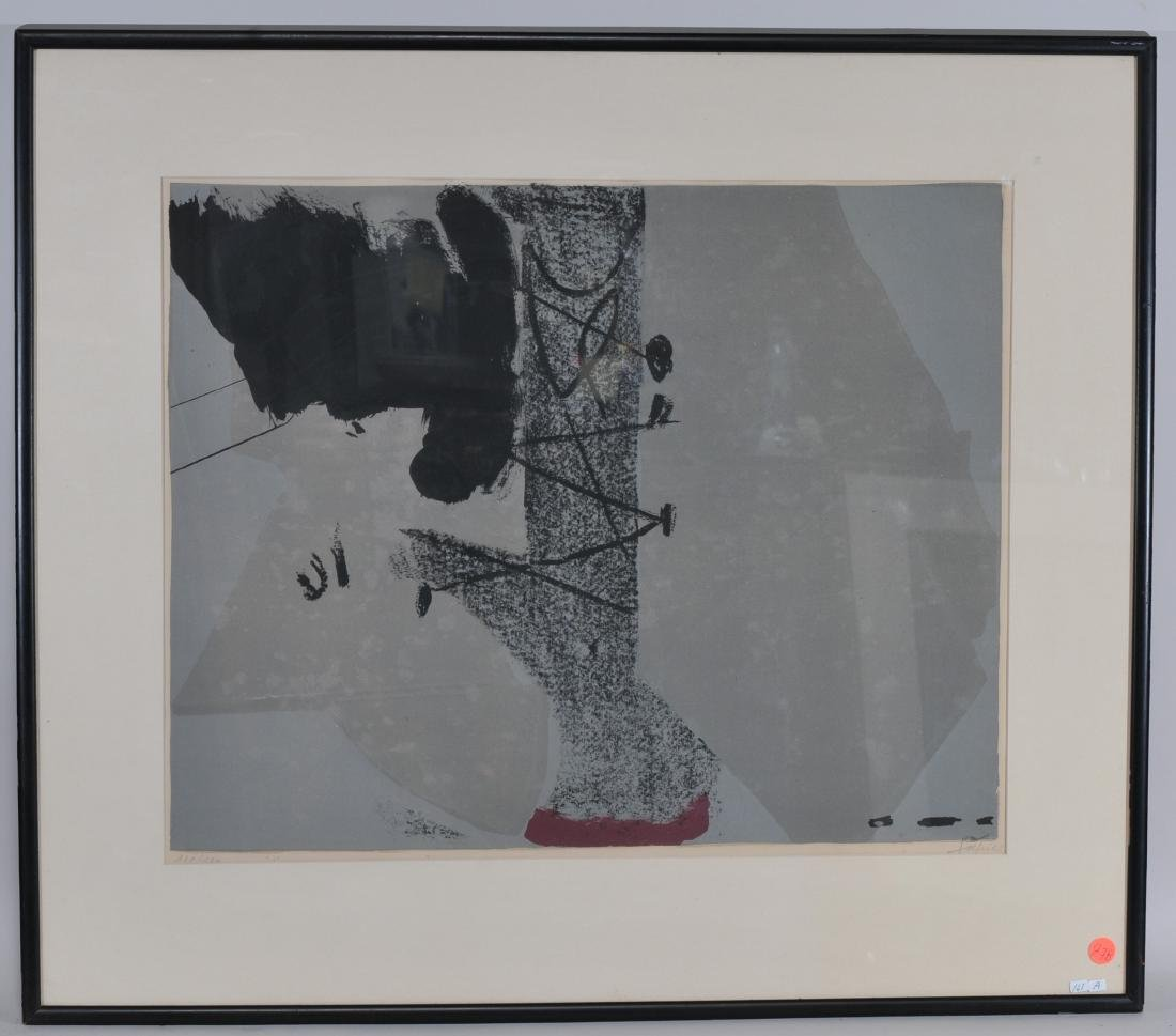 Antoni Tapies. Lithograph. Abstract gray and black.
