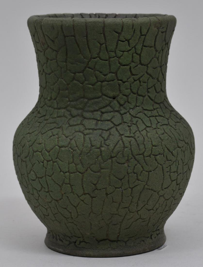 Merrimac Art Pottery matt green alligator glaze vase.