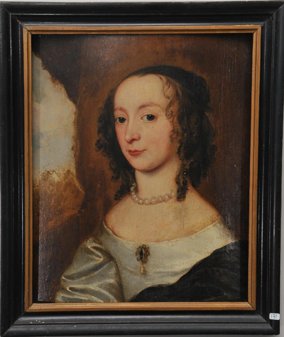17th/18th century. Old Master portrait on panel of a