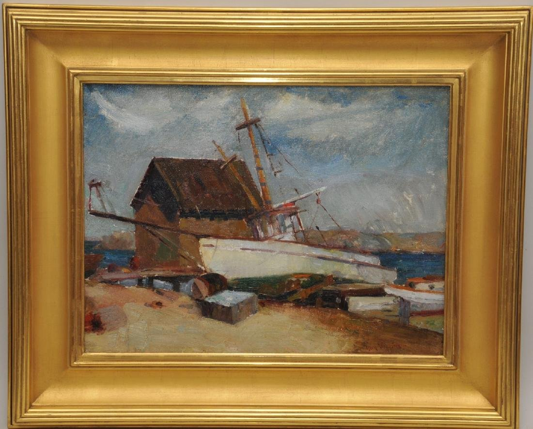 Guy Wiggins. Harbor scene seascape with boats at shore.