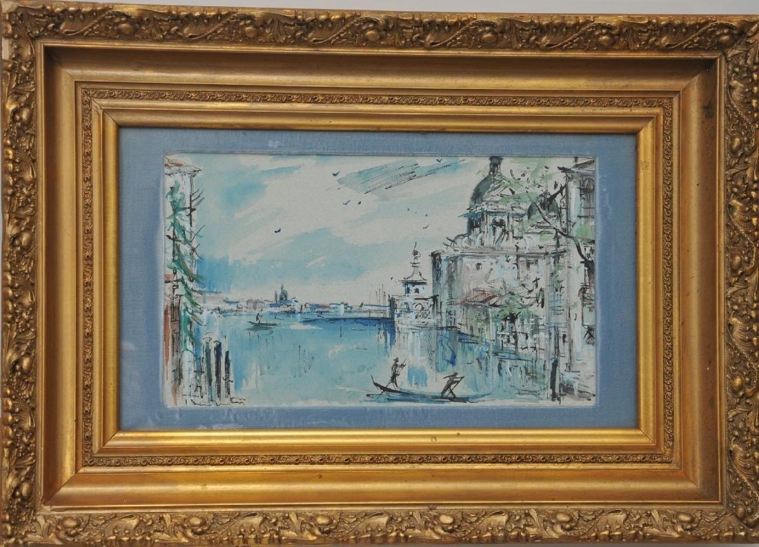 20th century Mixed Media Venetian Canal scene painting.