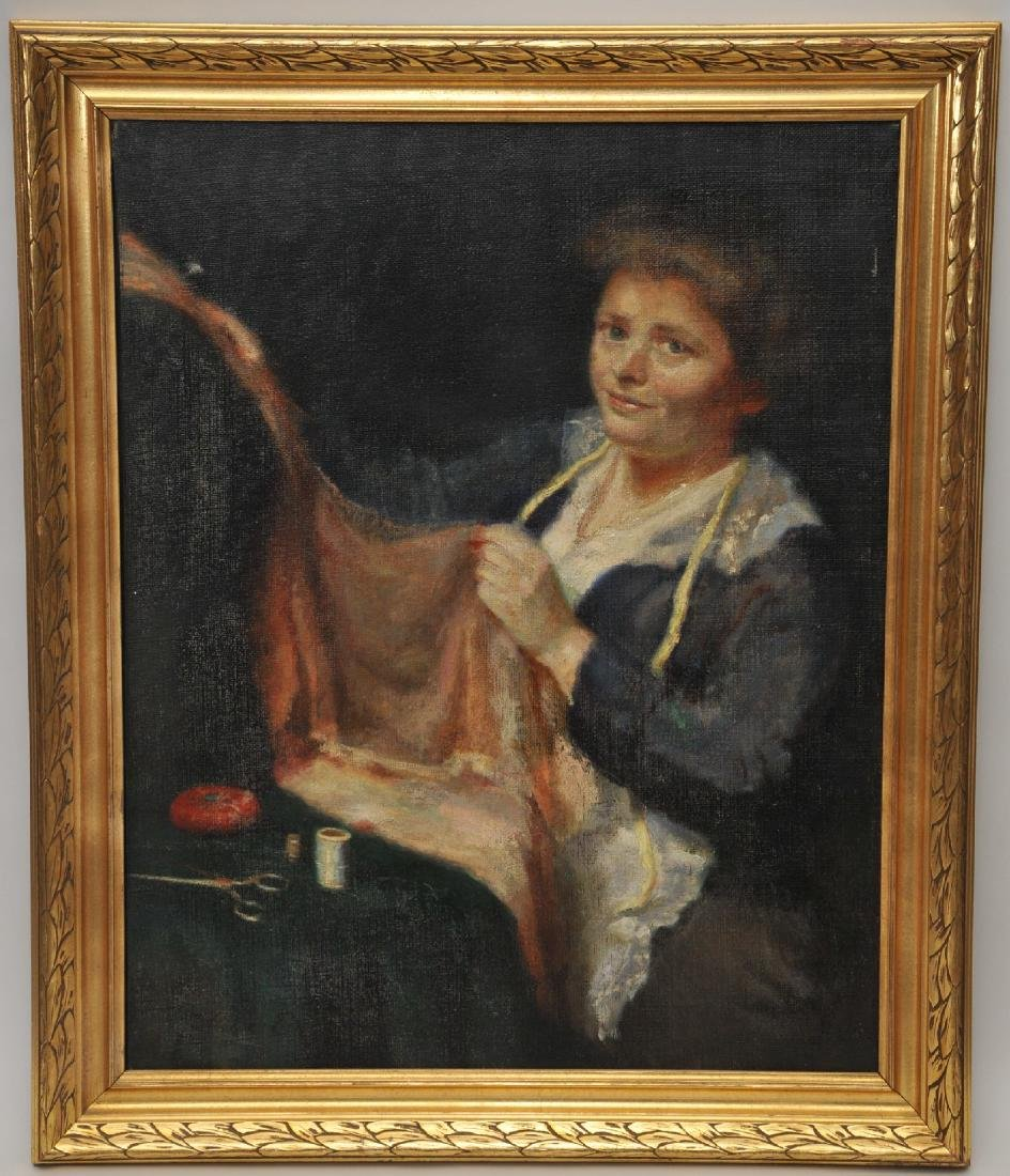 Early 20th century portrait of a woman sewing. Signed