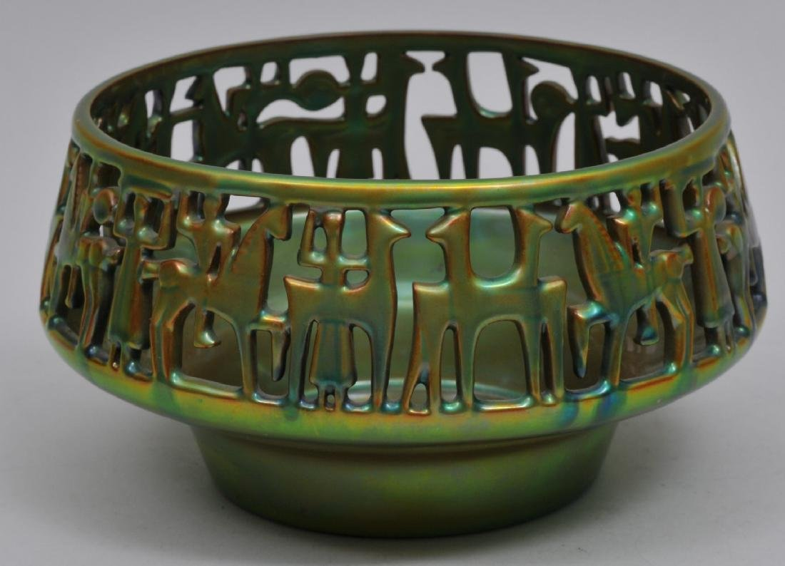 Zsolnay Pottery. Iridescent green and blue glaze