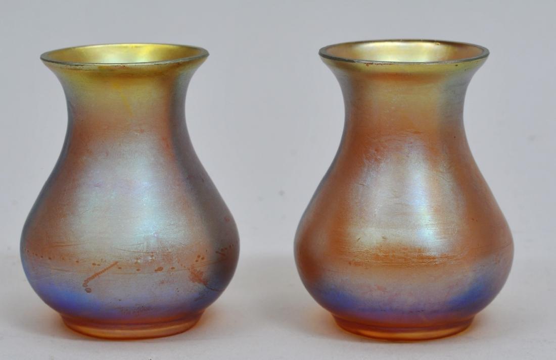 Pair of vintage gold Aureen glass miniature vases.