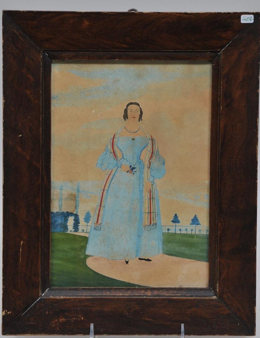 19th century Folk Art watercolor portrait of a woman in