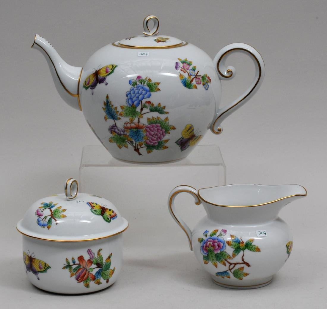 Three piece Herend porcelain tea set. Queen Victoria